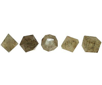 Healing Crystal Reiki 5 Pieces, Smoky Quartz Platonic Solids Sacred Geometry Set