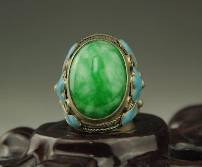 Chinese old Inlay Green Jade Old Tibet Silver Cloisonne Flower Ring b01
