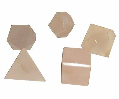 Healing Crystal Reiki 5 Pieces, Rose Quartz Platonic Solids Sacred Geometry Set
