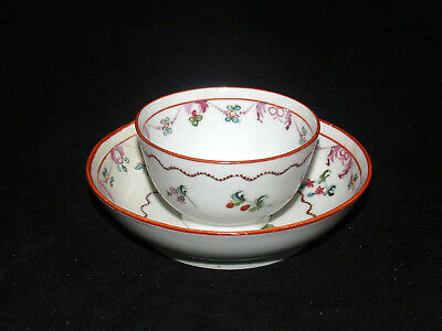 Antique Porcelain Cup And Saucer Chinese Export Porcelain Red Rose Swag 18Th Cen
