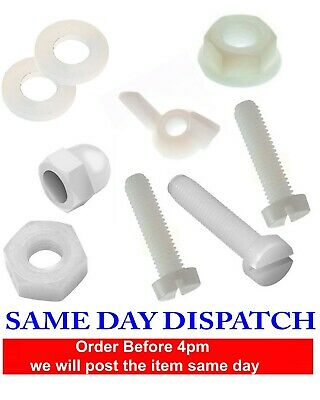 Set Screw SLOTTED Head Bolt Plastic Nylon 66 With Nuts, Washers M3 M4 M5 M6 M8
