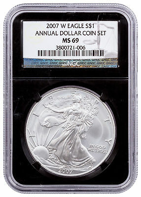 2007-W Burnished Silver Eagle From Annual Dollar Coin Set NGC MS69 Blk SKU55428