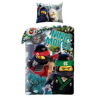 Lego Ninjago Moves Single Duvet Cover Set Cotton Childrens - 2 In 1 Design