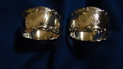 Antique Pair Of Solid Sterling Silver  Napkin Rings Dates 1896.