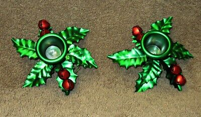 Set Of 2 Metal Holly Leaves & Red Berry Christmas Candle Stick Holders