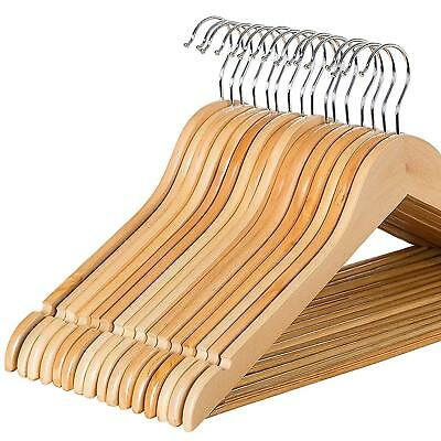 Wooden Hangers Pack of 20 Coat Hangers Clothes with Non Slip Bar and Cut Notches