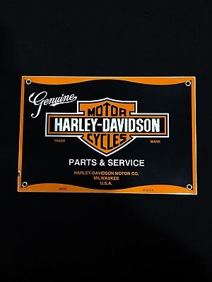Genuine Harley Davidson Motorcycle Parts & Service Porcelain Advertising Sign