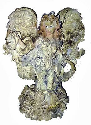 """Vintage Resin White Woman Winged Angel With Baby Lamb Figurine 5"""""""