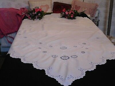 Vintage Large Snowy White Irish Linen Tablecloth
