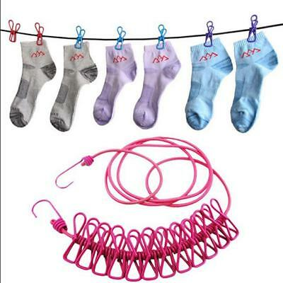 1.7M Strong Washing Clothes Thick Rope Line Garden Laundry With 12 Clips 8C