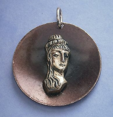 Nc824) Vintage Gold Tone Metal Ancient Egyptian Greek Woman Round Pendant Made F