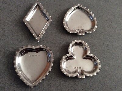 Antique Hallmarked Sterling Silver Suits Playing Card Bon Bon Nut Dishes / Poker