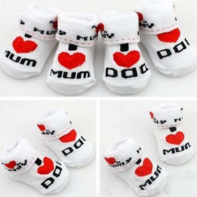 Baby Socks Girl Boy Mum Dad Infant Newborn Cotton White Red Black 8C