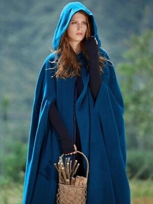 Teal Hooded Cloak Trench Cape XL outerwear winter or costume cosplay