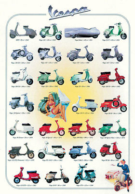 VESPA SCOOTERS 50 YEARS 26 Classic Models Historic Wall Chart POSTER