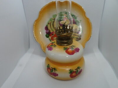 Vintage Small Miniature Hand Painted Porcelain Oil Lamp with Chimney, Back Plate