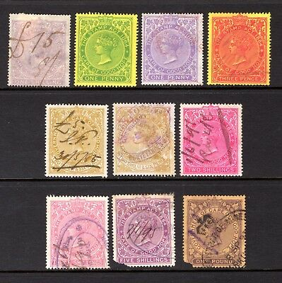 CAPE OF GOOD HOPE QV REVENUES GOOD TO FINE USED x 10 STAMPS TO £1 VALUE ODD FAUL
