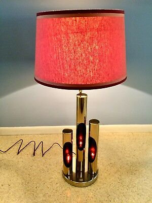 Mid Century Modern Rare Pair of Torino Lamps Italy Gold 4 Lights 3-Way Switch