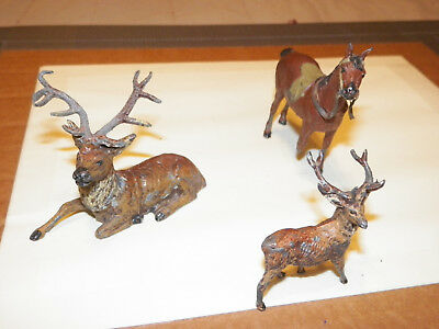 Antique Painted Lead German Figurine stags and horse Pre-war Germany lot of 3