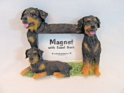 Small Rottweiler Dog Photo Picture Frame Resin Figurine Easel or Magnet