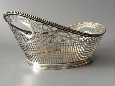 "Large! 11 x 4"" Dutch Solid 833 Silver Bread Basket / Holland / Sterling 475g"