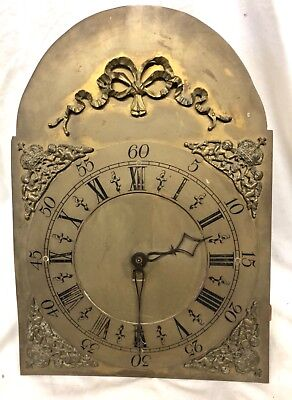 Antique Longcase Grandfather Clock Brass Dial and Movement 30 Hour