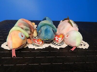 Ty Beanie Baby 3 EXTREMELY RARE Ty- Die Rainbow, Iggy and Blue Rainbow