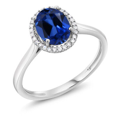 10K White Gold Diamond Ring 1.60 Ct Oval Blue Created Sapphire
