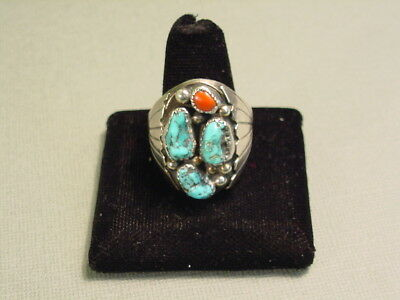 Vintage Old Pawn NAVAJO Sterling Silver Ring Size 13~Turquoise~Red Coral~Men's