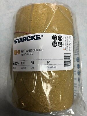 """Starcke 6"""" 80 Grit Gold PSA Abrasive Sanding Disc 100/Roll Compare to 3M 01116"""