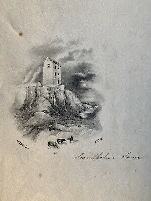 Antique Pencil Drawing, Scotland Smailholm Tower Landscape, Signed & Dated 1834