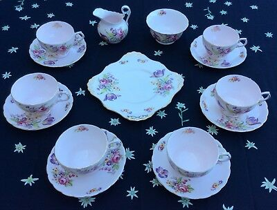 Rare Tuscan Teaset With 6 Large Breakfast Cups, 15 Pcs, Pink Montrose, Damaged