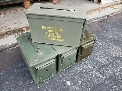 4 PACK - 50 Cal Ammo Can Box M2A1 Military Surplus Cans -Good Condition!