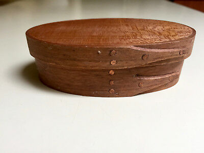 Vintage 3 Fingers~Swallowtail Wood Hand-Crafted Small Oval Shaker Box Approx. 4""