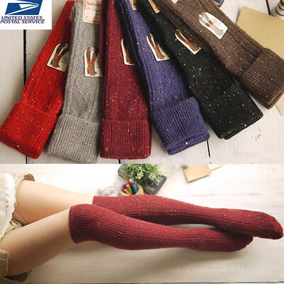 5 Pairs Women Wool Cashmere Knee-High Boot Socks Multicolor Winter Warm Soft
