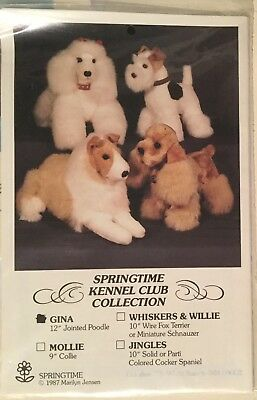 """12"""" Jointed Poodle """"Gina""""  sewing pattern for stuffed toy dog"""