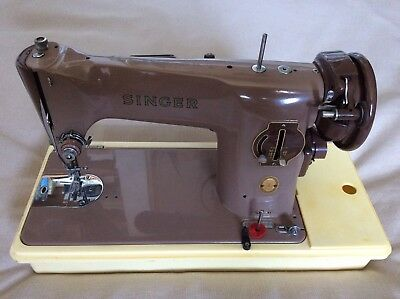 Fantastic condition SINGER Tan 201k vintage sewing machine Metal Electric 1950's