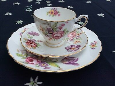 Rare Vintage Tuscan Montrose White Floral Trio - Cup, Saucer And Cake Plate