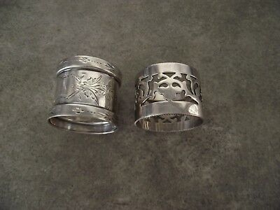 Two Antique Victorian Silverplate Napkin Ring late 1800s