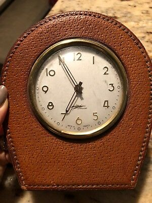 Vintage Longchamp Desk Clock Accessory Leather Made In France