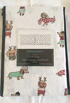 Cynthia Rowley Dachshund Wiener Dog Christmas Winter Holiday Pillowcase Set NEW