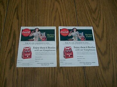Lot Of 2 Coke Coca-Cola Advertisements Mailers For Coke Glass Bottles