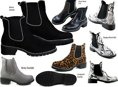 New Women's Chelsea Ankle Boots Pull On Casual Block High Shoes Studded Faux Lea