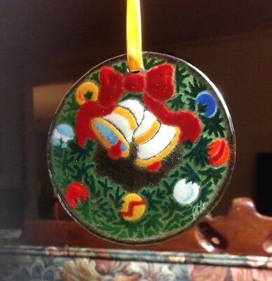 Peggy Karr - Signed | Wreath | Fused Art Glass Ornament