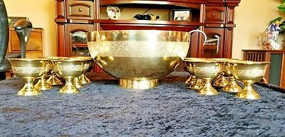 Vintage Etched Brass and Silver Punch Bowl With Ladle and 12 Coordinating Cups