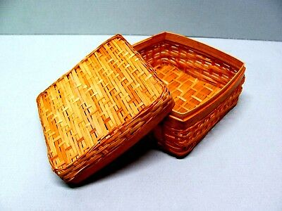 """Small 3"""" Woven Square Basket with Removable Lid Trinket Box Style"""