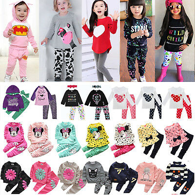 Toddler Kids Baby Girls Sweatshirt T Shirt Tops Pants Tracksuit 2Pcs Outfits Set