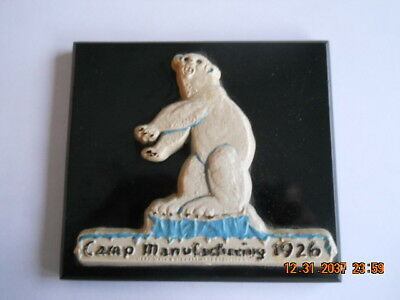 "Old 1926 ""CAMP MANUFACTURING"" -Franklin, Virginia Advertising Bear Plaque"