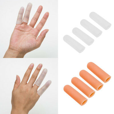2 Pairs Elastic Silicone Toe Finger Cap Cover Protective Splint Sleeves Tube