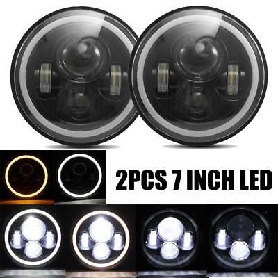 2X 7Inch Round 150W Total  LED Headlights Hi/Lo 97-17 For JEEP JK TJ LJ Wrangler